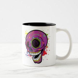 Purple Tattoo Sugar Skull With Paint Splashes Two-Tone Coffee Mug