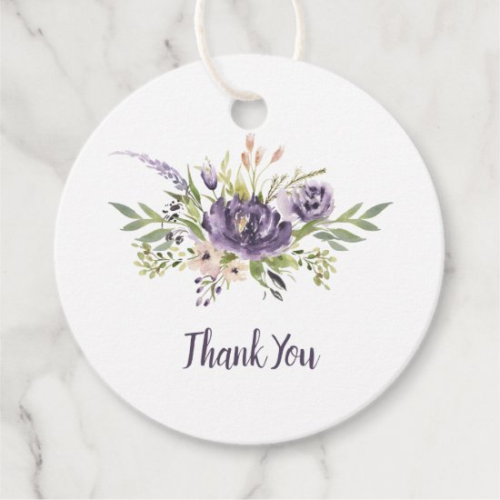 Purple Taupe Peonies Greenery Wedding Thank You Favor Tags