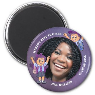 Purple Teacher Thank You Custom Photo Magnet