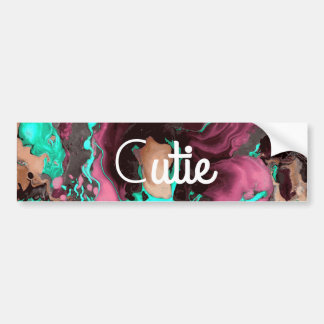 Purple teal and black Marble. Bumper Sticker