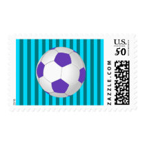 Purple, Teal and Turquoise Soccer Postage Stamps