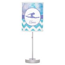 Purple Teal Aqua Gymnastics Silhouette Lamp
