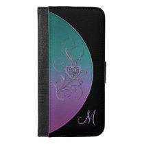 Purple Teal Black Celtic Heart Knot Wallet Case