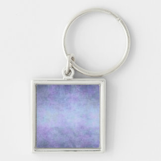 Purple, Teal Blue, Aqua, and Violet Watercolor Silver-Colored Square Keychain