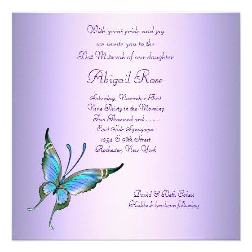 Purple Teal Blue Butterfly Bat Mitzvah Custom Invitations (back side)