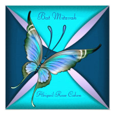 Purple Teal Blue Butterfly Bat Mitzvah Invitation