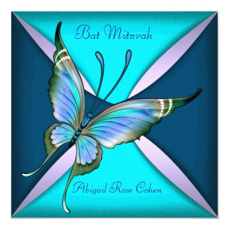 Purple Teal Blue Butterfly Bat Mitzvah Custom Invitations