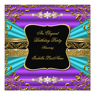 Purple Teal Blue Damask Black Gold Birthday Party Card