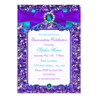 Purple Teal Blue Glitter Jewel Bow Quinceanera Card