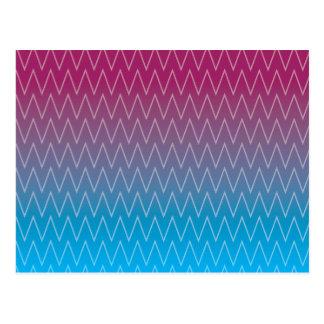 Purple Teal Blue Gradient Color Chevron Pattern Postcard