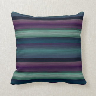 Purple Teal Blue Green Watercolor Stripes Pattern Throw Pillow