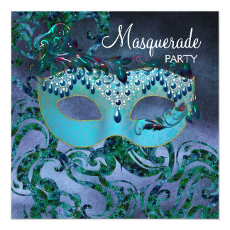 Purple Teal Blue Masquerade Party Invitations