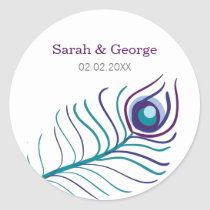 purple teal blue peacock wedding favors stickers
