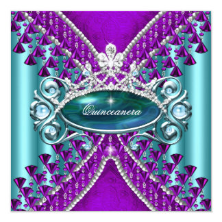 Purple Teal Blue Quinceanera 15th Birthday Party 5.25x5.25 Square Paper Invitation Card