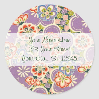 Purple, Teal, Blue, Red, Green & White Flowers Classic Round Sticker