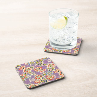 Purple, Teal, Blue, Red, Green & White Flowers Coaster