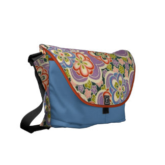 Purple, Teal, Blue, Red, Green & White Flowers Courier Bag