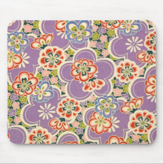 Purple, Teal, Blue, Red, Green & White Flowers Mousepads