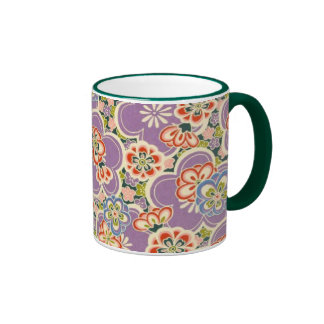 Purple, Teal, Blue, Red, Green & White Flowers Mugs