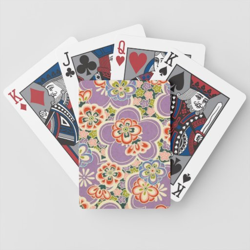 Purple, Teal, Blue, Red, Green & White Flowers Bicycle Poker Cards
