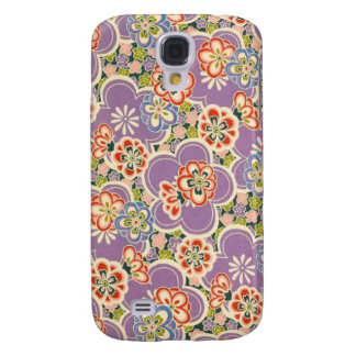 Purple, Teal, Blue, Red, Green & White Flowers Samsung Galaxy S4 Case