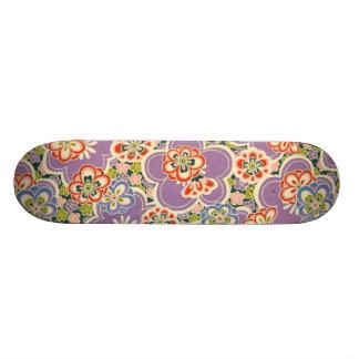 Purple, Teal, Blue, Red, Green & White Flowers Skateboard
