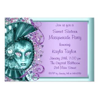 Purple Teal Blue Sweet Sixteen Masquerade Party Card
