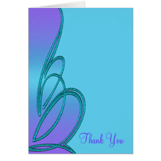 Purple Teal Blue Swirl Thank You Card