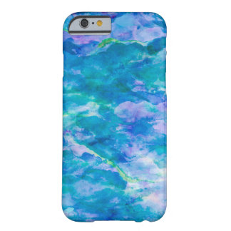 Purple Teal Blue Watercolor Texture Pattern Barely There iPhone 6 Case