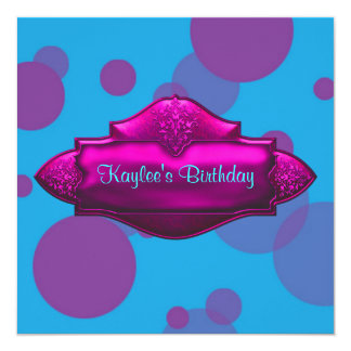 Purple Teal Bubbles Girls 10th Birthday Party 5.25x5.25 Square Paper Invitation Card