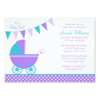 purple and teal baby shower invitations announcements zazzle