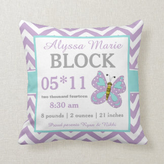 Purple Teal Butterfly Baby Announcement Pillow