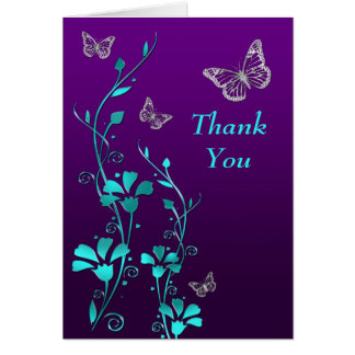 Purple, Teal Butterfly Floral Thank You Note Card