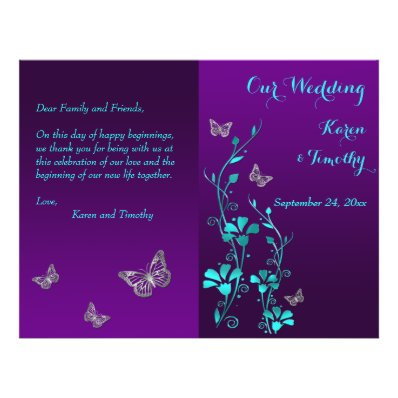 Purple Teal Butterfly Floral Wedding Program