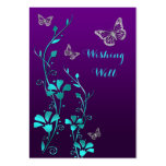 Purple, Teal Butterfly Floral Wishing Well Card