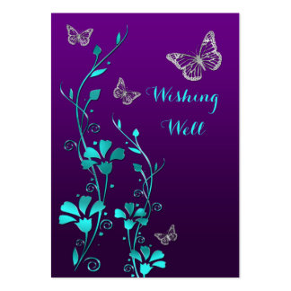 Purple, Teal Butterfly Floral Wishing Well Card Large Business Cards (Pack Of 100)
