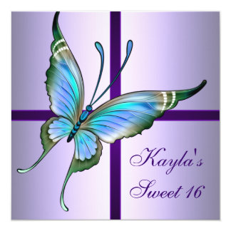 Purple Teal Butterfly Sweet 16 Birthday Party Personalized Announcements