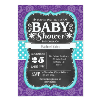 Purple Teal Chalkboard Floral Baby Shower Invite