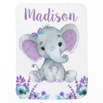 Purple Teal Elephant Baby Blankets Floral