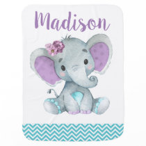 Purple Teal Elephant Baby Blankets Floral Chevron