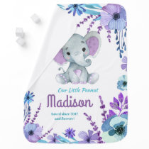 Purple Teal Elephant Blanket with Name