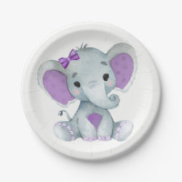 Purple Teal Elephant Plate  Baby Shower, Birthday