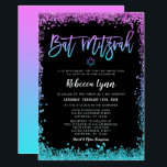 """Purple Teal Faux Glitter Bat Mitzvah Invitation<br><div class=""""desc"""">Modern purple and turquoise faux glitter Bat Mitzvah invitations. Perfect for a trendy event! Designs are flat printed illustrations/graphics - NOT ACTUAL GLITTER.</div>"""