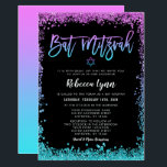"Purple Teal Faux Glitter Bat Mitzvah Invitation<br><div class=""desc"">Modern purple and turquoise faux glitter Bat Mitzvah invitations. Perfect for a trendy event! Designs are flat printed illustrations/graphics - NOT ACTUAL GLITTER.</div>"