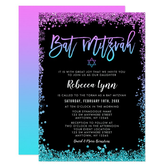 Purple Teal Faux Glitter Bat Mitzvah