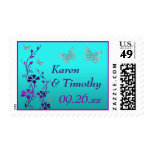 Purple, Teal Floral, Butterflies Wedding Postage 2