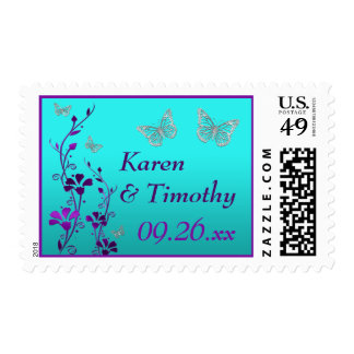 Purple, Teal Floral, Butterflies Wedding Postage 2