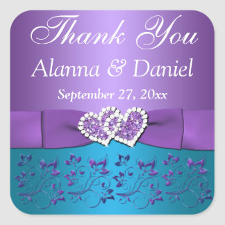 """Purple, Teal Floral, Heart 1.5"""" Sq. Wedding Favor Stickers"""