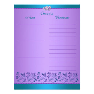 Purple, Teal Floral, Hearts Guest Book Paper Personalized Letterhead