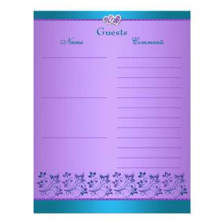 Purple, Teal Floral, Hearts Guest Book Paper Letterhead